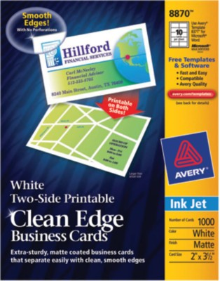 Two-Side Printable Ink Jet Clean Edge Business Cards 8870