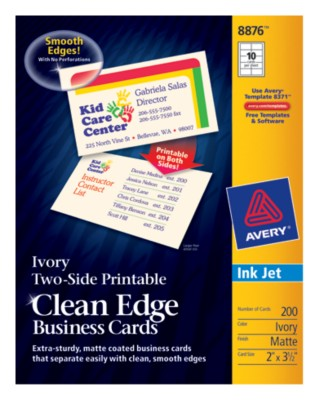 Two-Side Printable Ink Jet Clean Edge Business Cards 8876