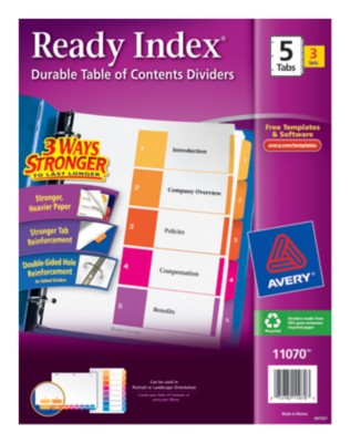 Ready Index(R) Table of Contents Dividers for Laser & Ink Jet Printers 11070