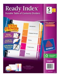 AVery Ready Index Table of Contents Dividers 11070 Packaging Image