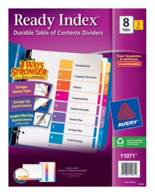 Ready Index(R) Table of Contents Dividers for Laser & Ink Jet Printers 11071