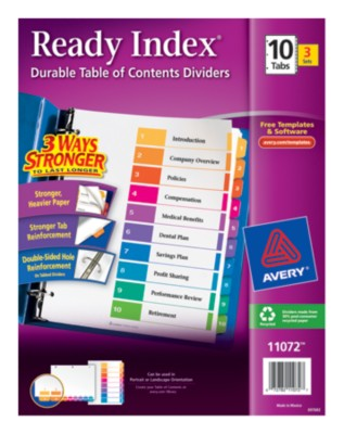 Ready Index(R) Table of Contents Dividers for Laser & Ink Jet Printers 11072