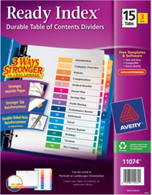 Ready Index(R) Table of Contents Dividers for Laser & Ink Jet Printers 11074