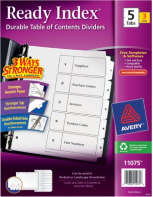 Ready Index(R) Table of Contents Dividers for Laser & Ink Jet Printers 11075