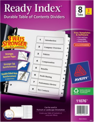 Ready Index(R) Table of Contents Dividers for Laser & Ink Jet Printers 11076