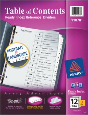 Ready Index(R) Table of Contents Dividers for Laser & Ink Jet Printers 11078