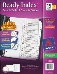 Ready Index(R) Table of Contents Dividers for Laser & Ink Jet Printers