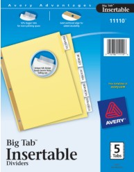 WorkSaver Big Tab Insertable Tab Dividers with Buff Paper