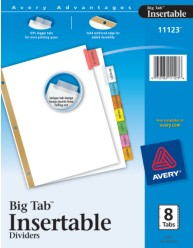 WorkSaver Big Tab Insertable Tab Dividers with White Paper