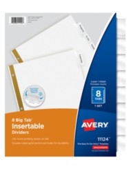 Avery big tab insertable dividers for Avery 8 tab clear label dividers template