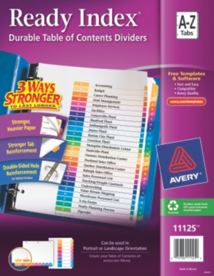 Contemporary Ready Index Table of Contents Dividers 11125