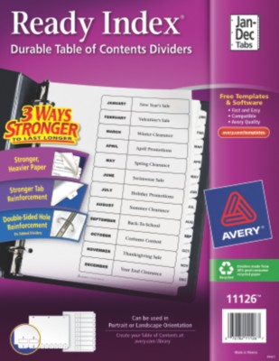 Ready Index Table of Contents Dividers, Jan - Dec 11126