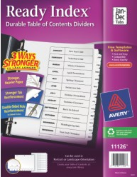 Ready Index Table of Contents Dividers, Jan. - Dec.