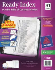Classic ready index table of contents dividers for Avery ready index template 31 tab