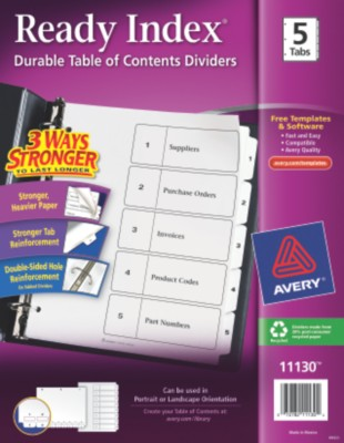 Classic Ready Index Table of Contents Dividers 11130