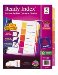 AVery Ready Index Table of Contents Dividers 11131 Packaging Image