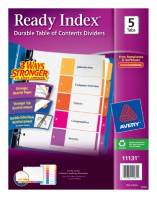 Contemporary Ready Index Table of Contents Dividers 11131