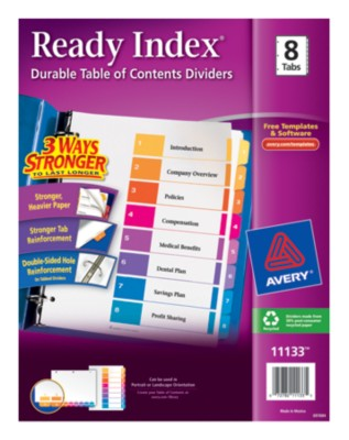Contemporary Ready Index Table of Contents Dividers 11133