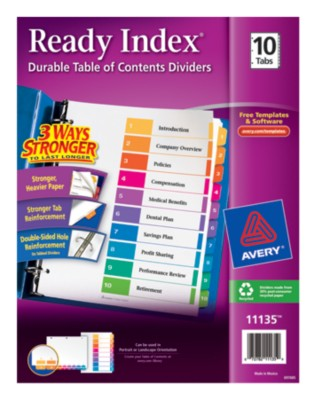 Contemporary Ready Index Table of Contents Dividers 11135