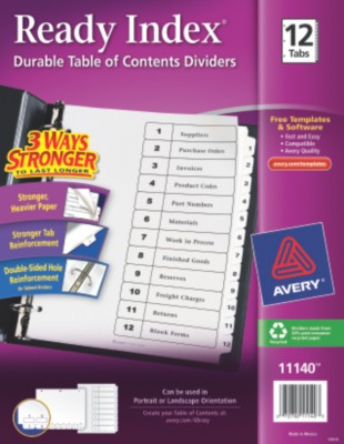 Classic Ready Index Table of Contents Dividers 11140