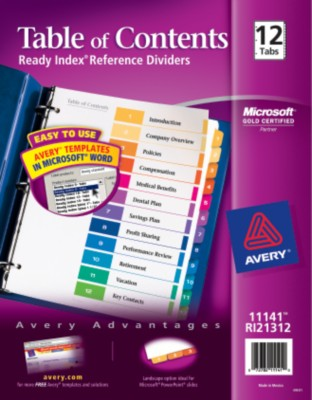 Contemporary Ready Index Table of Contents Dividers 11141