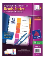 Avery® Ready Index® Unpunched Table of Contents Dividers 11152, Packaging  Image