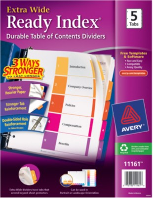 Ready Index Extra Wide Table of Contents Dividers 11161
