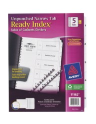 Avery® Ready Index® Unpunched Table of Contents Dividers 11162, Packaging Image