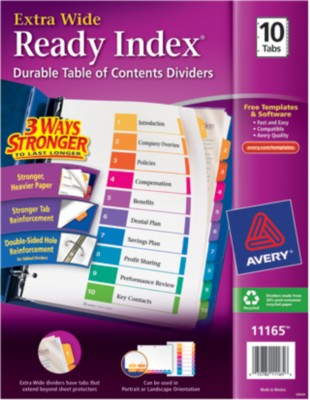 Ready Index Extra Wide Table of Contents Dividers 11165