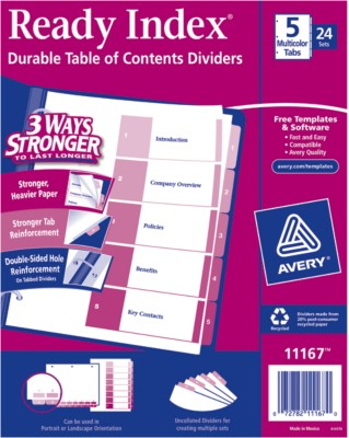 Contemporary Ready Index Table of Contents Dividers 11167