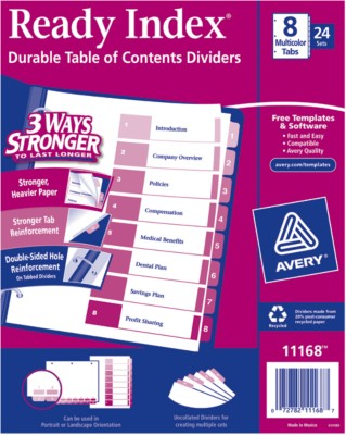 Contemporary Ready Index Table of Contents Dividers 11168