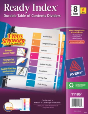 Contemporary Ready Index Table of Contents Dividers 11186