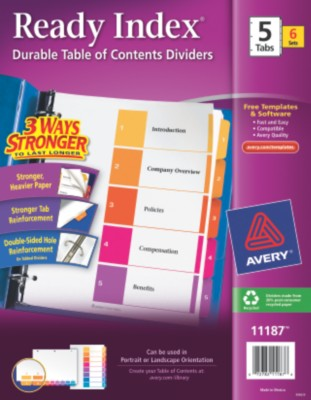Contemporary Ready Index Table of Contents Dividers 11187