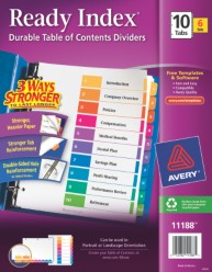 Ready Index Table of Contents Dividers for Laser & Ink Jet Printers