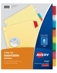 Avery big tab insertable dividers for Avery print on tabs template