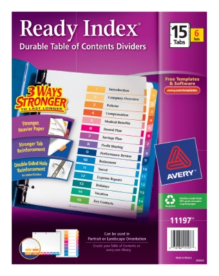 Ready Index Table of Contents Dividers 11197