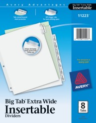 WorkSaver Extra Wide Big Tab Insertable Dividers with White Paper
