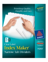 Avery® Index Maker® Clear Label Dividers with Narrow Tabs 11253, Packaging Image