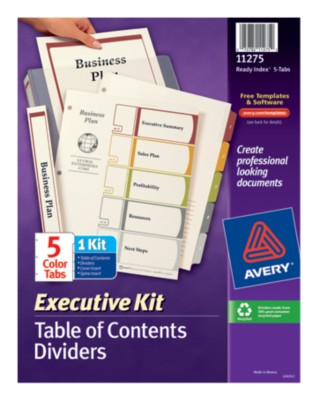 Executive Ready Index Table of Contents Dividers 11275
