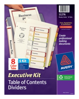 Executive Ready Index Table of Contents Dividers 11276