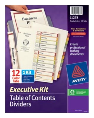 Executive Ready Index Table of Contents Dividers 11278