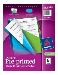 Avery® Durable Pre-printed Plastic Dividers with Pockets 11295, Packaging Image