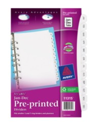 Avery Preprinted Dividers JAN-DEC 11315, Packaging Image