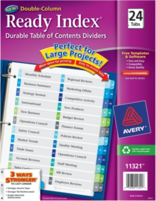 Ready Index Double-Column Table of Contents Dividers 11321