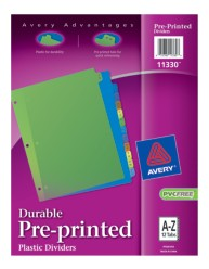 Plastic Pre=printed Dividers 11330, A-Z, Packaging Image