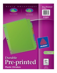 Avery® Durable Pre-printed Plastic Dividers 11331, Jan.-Dec., Packaging Image