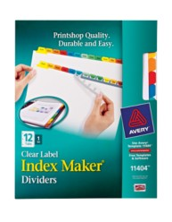 Avery® Index Maker® Clear Label Dividers 11404, 12-Tab Set, Packaging Image