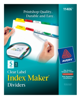 Index Maker Clear Label Dividers with Color Tabs 11406
