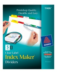 Avery Index Maker Clear Label Dividers with Color Tabs 11406 Packaging Image