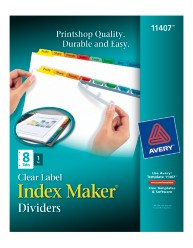 Avery Index Maker Clear Label Dividers with Color Tabs 11407 Packaging Image